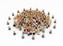 Crowd Control Circle. Crowd of small symbolic 3d figures, isolated Stock Photos