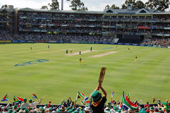 Crowd in Cricket Stadium. Image of World Record cricket match at Wanderers Cricket stadium, Johannesburg South Africa, between Australia and South Africa Stock Photo