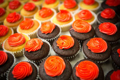 Crowd of cupcakes closeup. Chocolate and vanilla cupcakes backed for valentines  day Royalty Free Stock Photography