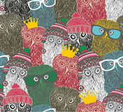 Crowd of cute doodle owl. Vector seamless pattern Stock Photo
