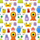 Crowd of cute monsters different colours on white background, seamless pattern Royalty Free Stock Photos