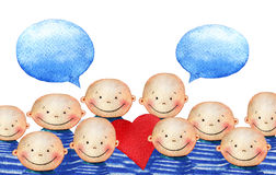 A crowd of cute smiling boy in blue striped T-shirt holding heart Stock Image