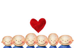 Crowd of cute smiling boys with red heart Stock Photography