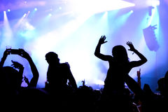 Crowd dance in a concert at Sonar Festival. BARCELONA - JUN 19: Crowd dance in a concert at Sonar Festival on June 19, 2015 in Barcelona, Spain Royalty Free Stock Image