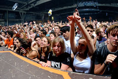 Crowd dance in a concert at Sonar Festival stock photography
