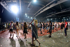 Crowd dance in a concert at Sonar Festival. BARCELONA - JUN 19: Crowd dance in a concert at Sonar Festival on June 19, 2015 in Barcelona, Spain Stock Photo