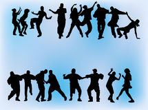 Crowd dancing. Silhouette of boys and girls dancing on different hip hop style: Krump, Clowning, Break dance, Old school, C-Walk etc vector illustration