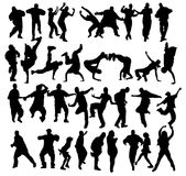 Crowd dancing. Huge crowd of dancers silhouettes with several styles Royalty Free Stock Photo