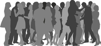 Crowd dancing. Silhouettes of crowd dancing - vector illustration Royalty Free Stock Photo
