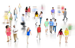 Crowd Diverse People Walking Discussion  Concept Stock Photo