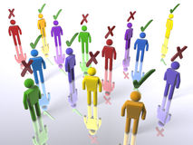 A crowd of diverse voters. 3D figures with ticks or X's (with emphasis on diversity Royalty Free Stock Image