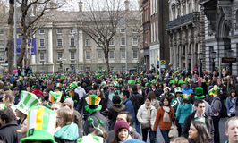 Crowd in Dublin on St. Patrick's Day Royalty Free Stock Photos