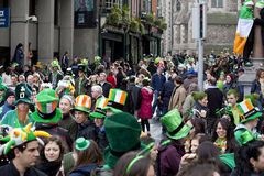 Crowd in Dublin on St. Patrick's Day Stock Photography
