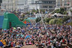 The crowd on Eastbourne Air Day, East Sussex, England royalty free stock photography