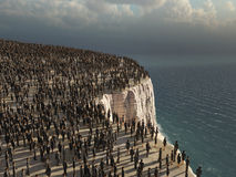 Crowd on the edge of a cliff. Gray crowd on the edge of a cliff Stock Photography