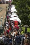 Crowd at edinburg festival. Crowd walking at the fringe festival at Edinburg, UK Royalty Free Stock Photos