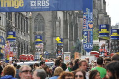 Crowd at Edinburgh Fringe Festival. Crowd in the main street at Edinburgh Military Tattoo and Fringe Festival, summer 2008 royalty free stock photos
