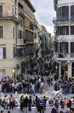 Crowd on the elegant place of Spain, Rome stock image