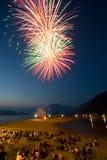 A crowd enjoying Canada Day Fireworks Stock Photo