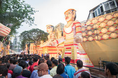Crowd enjoying Durga Puja festival at Kolkata, West Bengal, India. Stock Photo