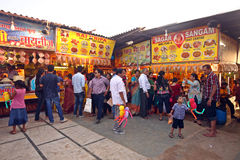 Crowd enjoying street food in Mumbai Royalty Free Stock Image