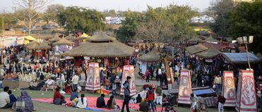 Crowd is enjoying Surajkund International Crafts Mela. Faridabad, Surajkund, India, February 2019 : 33 Surajkund International Crafts Mela stock images