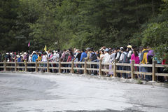 Crowded entrance in Jiuzhaigou Stock Images
