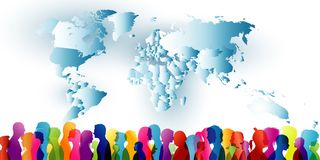 Crowd of ethnic people standing together. Group of different people. Diversity of people. Community. Colored silhouette profiles w stock illustration