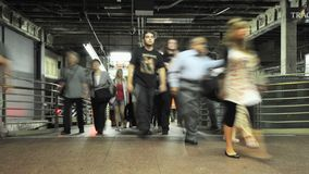Crowd Exiting NYC Subway - Time Lapse stock video
