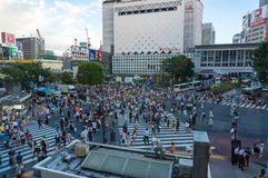 Crowd on famous Shibuya crossing in Tokyo Stock Images