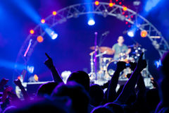 Crowd of fans at a concert stock images