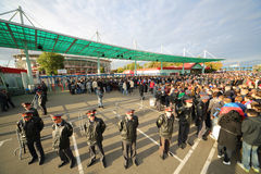 A crowd of fans in front of the Lokomotiv Stadium Royalty Free Stock Photography