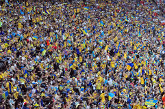 Crowd of fans. A lot of football fans on the stands during EURO championship Royalty Free Stock Image
