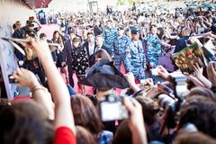 Crowd of fans with Penelope Cruz Stock Photography