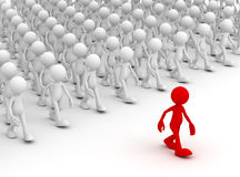 Crowd following leader concept 3d illustration Royalty Free Stock Photos