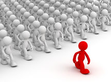 Crowd following leader  3d illustration Stock Photography