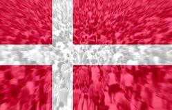 Football fans with blending Denmark flag. Crowd of football, soccer fans with raised arms with blending Denmark flag Royalty Free Stock Image