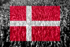 Football fans with blending Denmark flag. Crowd of football, soccer fans with raised arms with blending Denmark flag Royalty Free Stock Images