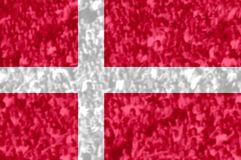 Football fans with blending Denmark flag. Crowd of football, soccer fans with raised arms with blending Denmark flag Stock Image