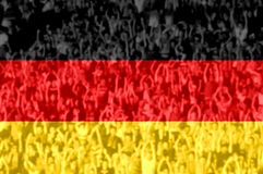 Football fans with blending Germany flag royalty free stock photography