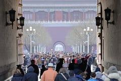Crowd in Forbidden City, China stock photos