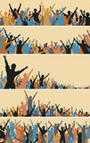 Crowd foregrounds. Set of colorful editable  crowd silhouettes Royalty Free Stock Photography