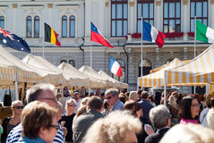 Crowd in french market in Tampere Finland Stock Photos