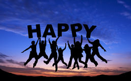Crowd of friends jumping with HAPPY on blue sky Royalty Free Stock Photos