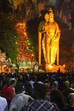 Crowd in front Murugan statue Royalty Free Stock Photo