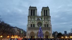 Crowd in front of the Notre-Dame Cathedral royalty free stock image