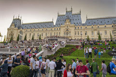 Crowd in front of the Palace of Culture Royalty Free Stock Images