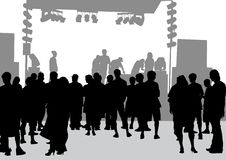 Crowd in front of the stage Royalty Free Stock Photos