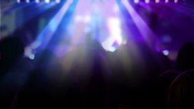 Crowd in front of the stage at a concert stock footage