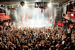 Crowd at the Fuel Fandango (electronic, funk, fusion and flamenco band) concert at Apolo (venue). BARCELONA - DEC 5: Crowd at the Fuel Fandango (electronic, funk Royalty Free Stock Image